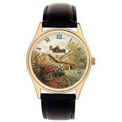 Claude Monet English Rose Garden Impressionist Art 40 mm Solid Brass Wrist Watch