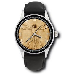 Leonardo Da Vinci Vitruvian Man Parchment Art Dial Collectible Wrist Watch