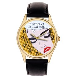 "Roy Lichtenstein Mnemonics ""Late Again"" Orignal Pop Art 40 mm Wrist Watch"