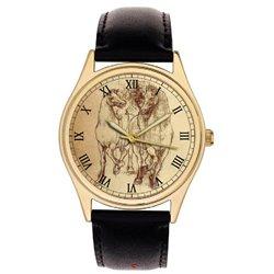 Horses. Leonardo Da Vinci Equestrian Study Parchment Art Dial Collectible Wrist Watch