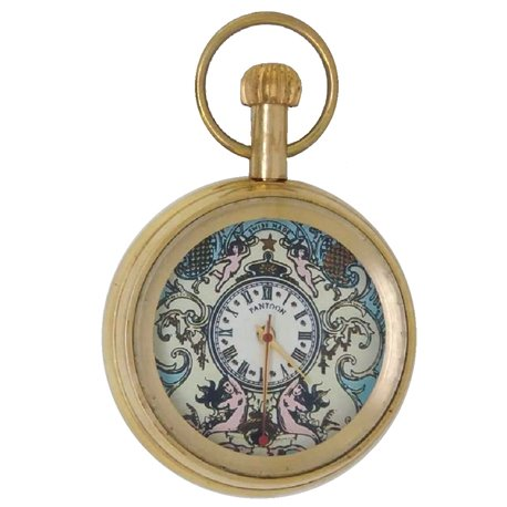 Mermaid Art Mock Pendulum Automaton Solid Brass Pocket Watch, 17 Jewels, 50 mm