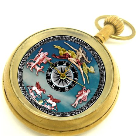 Mermaid Art Mock Pendulum Automaton Solid Brass Pocket Watch, 17 Jewels, 50 mm