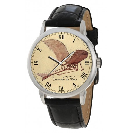 Leonardo Da Vinci Flying Machine Art Early Aviation Study Parchment Dial Collectible Wrist Watch