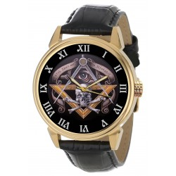 Ancient Freemasonry Skull Art Masonic Symbolism 40 mm Collector's Wrist Watch