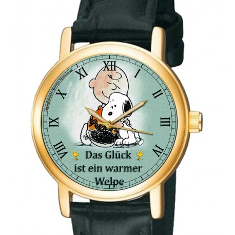 Happiness is a Warm Puppy! Classic Charlie Brown Snoopy Peanuts Collectible Wrist Watch