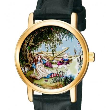 White Rabbit Alice in Wonderland Lewis Carroll Original Art Collectible Wrist Watch