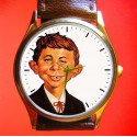 Mad Magazine Alfred E. Neumann Collectible Solid Brass Wrist Watch