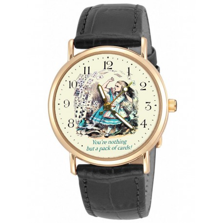 You Are Nothing But a Pack of Cards! Alice in Wonderland Vintage Art Collectible Wrist Watch