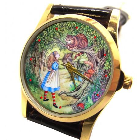 Alice in Wonderland Cheshire Cat Art Collectible Wrist Watch. 30 mm