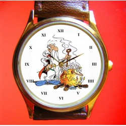 "Asterix & Obelix ""Getafix!"" Vintage Comic Art Collectible Solid Brass Wrist Watch"