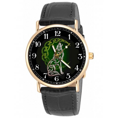 Howling Wolf Green Celtic Art Collectible 30 mm Unisex Solid Brass Wrist Watch