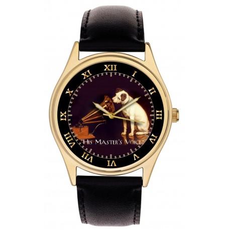Nipper Jack Russell Terrier His Master's Voice Gramophone Art Brass Wrist Watch. HMV