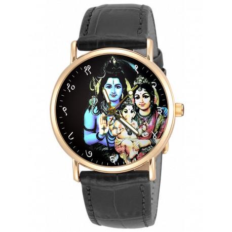 Lord Shiva, Parvati and Bal Ganesh. Hinduism Collectible Wrist Watch