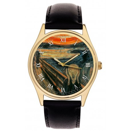 Edvard Munch The Scream Vintage French Lithograph Print 40 mm Solid Brass Watch