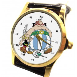 "Asterix & Obelix ""Friends!"" Vintage French Art Solid Brass Wrist Watch"