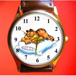 Garfield Iconic Lazy Cat Art Solid Brass Unisex Wrist Watch