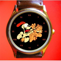Garfield,, the Lazy Cat, & Odie, the Slurpin' Dog, Vintage 30 mm Collectible Comic Art Solid Brass Wrist Watch