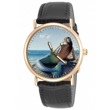 Mermaid Fantasy Art Solid Brass Collectible Wrist Watch. Beautiful Colours.