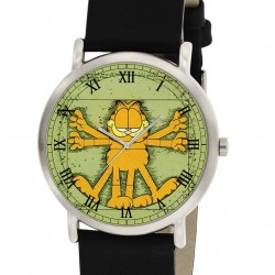 Iconic Garfield the Vitruvian Cat, Solid Brass Vintage Collectible Unisex Wrist Watch