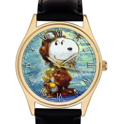 Original Schulz Watercolor Art Snoopy The Aviator Red Baron Peanuts Series Collectible Mens' Wrist Watch
