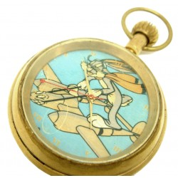 Bugs Bunny on a Lockheed Lightning World War II Art Collectible Pocket Watch