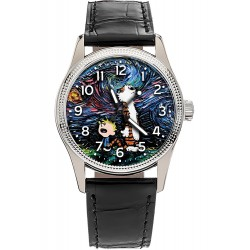 Calvin and Hobbes versus Vincent Van Gogh Starry Nights, Symbolic Comic Art Solid Brass Wrist Watch for Grown Ups