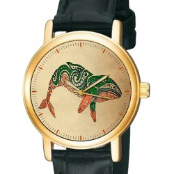 Humpback Whale Maori Tribal Art Solid Brass Unisex Wrist Watch