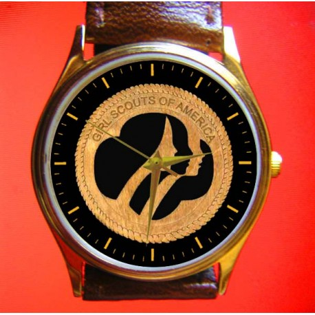 Girl Scouts - Classic Woodcut Logo Art Girls Solid Brass Wrist Watch