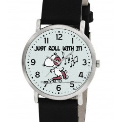 Just Roll With It, Classic Snoopy Roller Skating Existentialist Art Peanuts Wrist Watch. Boys Blue