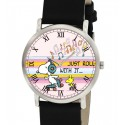 Just Roll With It, Classic Snoopy Roller Skating Art Peanuts Wrist Watch. Pink Girls