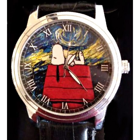 """Snoopy v/s Van Gogh. """"Starry Nights"""" Existential Symbolism 30 mm Women's Wrist Watch. Gold tone"""
