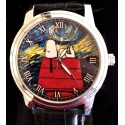 """Snoopy v/s Van Gogh. """"Starry Nights"""" Existential Symbolism 30 mm Women's Wrist Watch. Silver tone"""