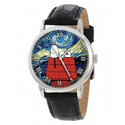 "Snoopy v/s Van Gogh. ""Starry Nights"" Existential Symbolism Mens's Comic Art Wrist Watch"