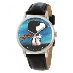 Snoopy The Red Baron Rare Adult Size Vintage Teal Blue Peanuts Wrist Watch