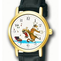 Calvin & Hobbes - Carefree Dancing! Vintage Comic Art Solid Brass Wrist Watch
