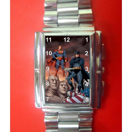 Batman and Superman, Classic Adult Sized Solid Brass Collectible Comic Art Wrist Watch