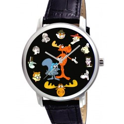 Rocky & Bullwinkle Large Format Original Collage Art Collectible Solid Brass Wrist Watch