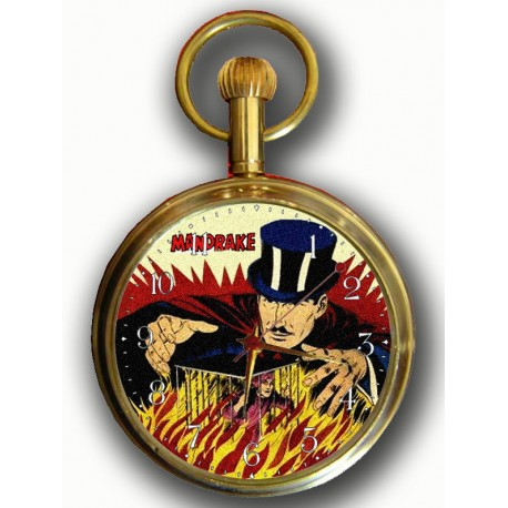Mandrake the Magician Pocket Watch, 17 Jewels, Mechanical, Solid Brass, Vintage