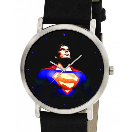 Classic Superman Electric Blue Vintage Art Solid Brass Wrist Watch 30 mm Collectible