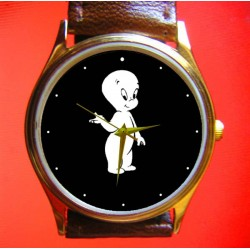 Casper the Friendly Ghost, Classic B&W Comic Art Solid Brass Collectible Wrist Watch