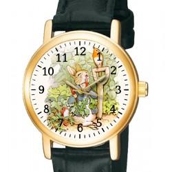 Beatrix Potter Peter Rabbit Original Art Collectible Wrist Watch. 30 mm, brass.