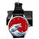 Godzilla Woodcut Japanese Print Kanji Dial Collectible Wrist Watch. Silver Tone. ゴジラ腕時計