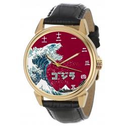 Godzilla Fantastic Woodcut Japanese Hokusai Print Kanji Dial Collectible Wrist Watch. Gold. ゴジラ腕時計