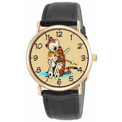 """Calvin & Hobbes Classic """"Gentle & Loving!"""" Art Solid Brass Collectible Wrist Watch"""