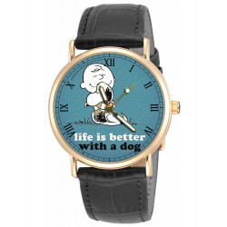 Life is Better with a Dog, Classic Snoopy Art Peanuts Collectible Wrist Watch. Unisex 30 mm