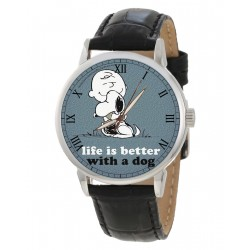 Life is Better with a Dog, Rare Adult Size Snoopy Art Peanuts Collectible Wrist Watch.