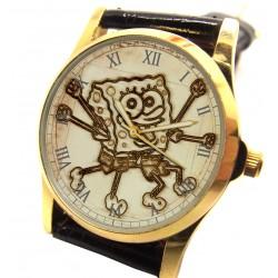 Spongebob Squarepants vs Leonardo da Vinci Vitruvian Man Comic Art Wrist Watch