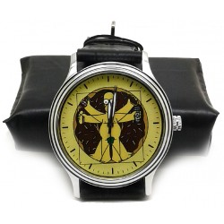 Homer Simpson v/s The Vitruvian Man. Leonardo Da Vinci Spoof Collectible Comic Art Wrist Watch