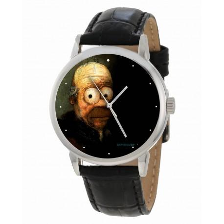 "Homer Simpson v/s Edvard Munch Scream ""Existentialist Crisis"" Comic Art Wrist Watch"