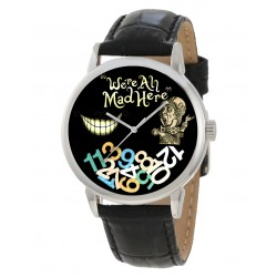 """""""We Are all Mad Here!"""" Symbolic Alice in Wonderland Art Collectible Adult-Sized Wrist Watch"""